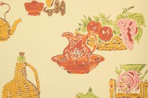 1970's Retro Vintage Wallpaper Red Orange Kitchen
