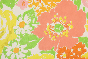 1970's Retro Vintage Wallpaper Pink Yellow Green Flowers