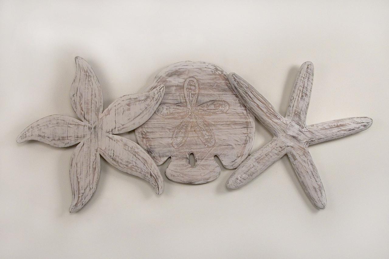 Large Starfish Wall Decor : Large antique wooden sand dollar starfish nautical wall