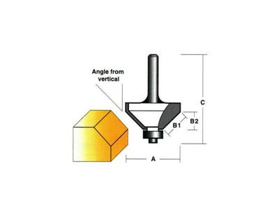 "Carb-I-Tool T8122B Chamfering 22º 25.4mm 1/4"" Shank"