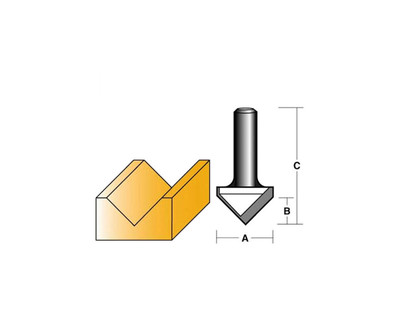 "Carb-I-Tool T1281/2 V Groove 90º 31.3mm 1/2"" Shank"