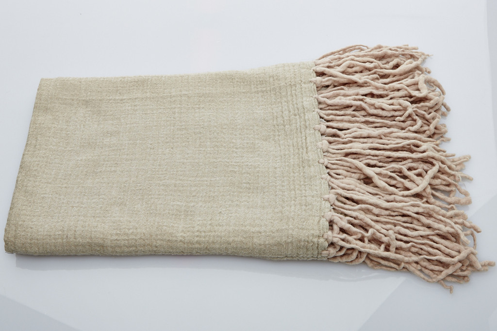 Soft Wool Blanket - Natural Long Fringe