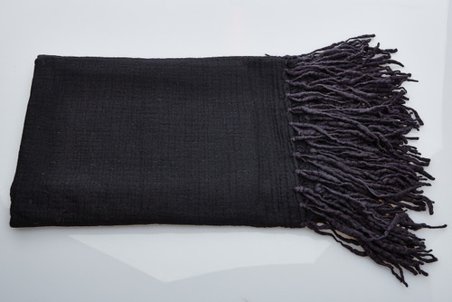 Soft Wool Blanket - Black Long Fringe