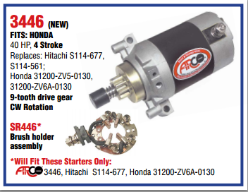 New Arco Honda 40 HP 4-Stroke Outboard Starter
