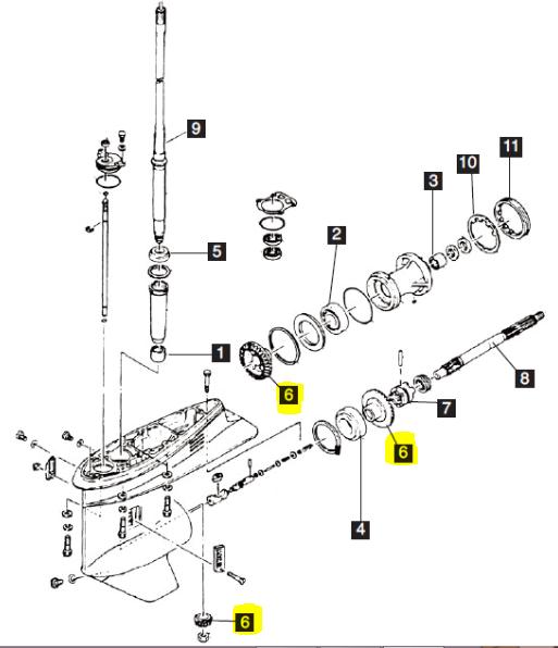 New Aftermarket Yamaha 75-100 HP 4-Stroke Gear Set [1999