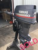"""1996 Yamaha 40 HP 3 Cylinder 2-Stroke 15"""" Tiller Outboard Motor"""