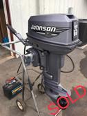 """2000 Johnson 25 HP 2-Cylinder 2-Stroke 15"""" Tiller Outboard Motor"""