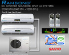 RAMSOND DUAL ZONE 21000 BTU (9000+12000 BTU) DC INVERTER MINI SPLIT AIR CONDITIONING SYSTEM