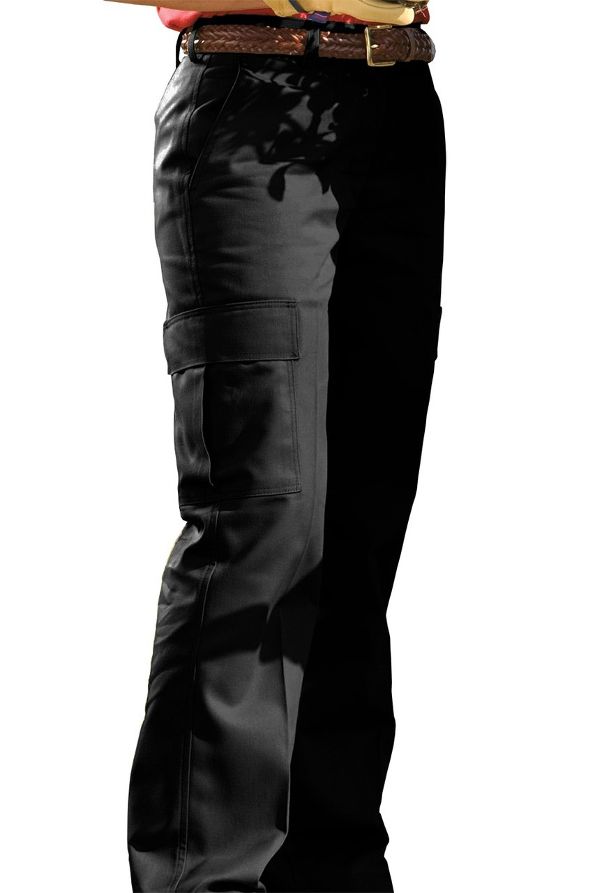 Ladies flat front poly cotton cargo work pants in black