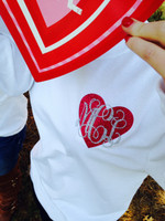 Monogram Glitter Heart Tee