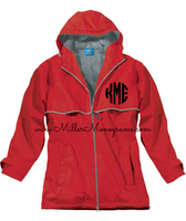 Monogrammed Women's Rain Jacket - Red (SMALL AND LARGE ONLY)