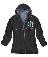 Monogrammed Women's Rain Jacket - Black (SMALL AND LARGE ONLY)