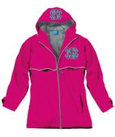 Monogrammed Women's Rain Jacket - Hot Pink