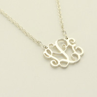 Sterling Silver Petite Floating Monogrammed Necklace