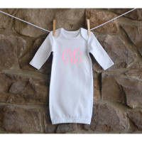 Monogrammed White Baby Gown 0-3 Months
