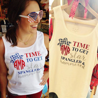 Apparel - Monogrammed Star Spangled & Hammered Tank Top