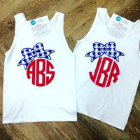 Apparel - Monogrammed Glitter 4th of July Bow Tank