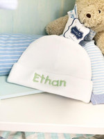 Monogrammed White Infant Hat