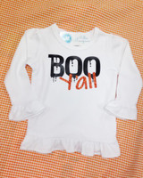 Boo Y'all Girls Ruffle Tee