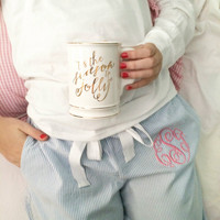 Monogrammed Seersucker Lounge Pants - Blue