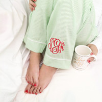 Monogrammed Seersucker Lounge Pants  - Green