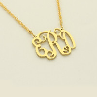 Small Gold Interlocking Monogram Necklace