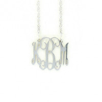 Small Sterling Silver Interlocking Monogram Necklace