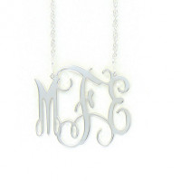 Large Sterling Silver Interlocking Monogram Necklace