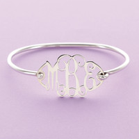 "7"" Sterling Silver Floating Monogram Bangle"