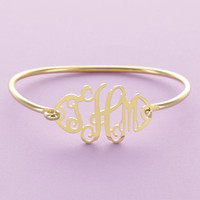 Gold Floating Monogram Bangle