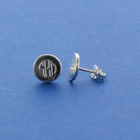 Circle Sterling Silver Monogram Studs