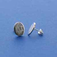 Oval Sterling Silver Monogram Studs
