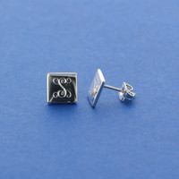 Square Sterling Silver Monogram Studs