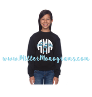 YOUTH Panther Monogram Black Glitter Sweatshirt