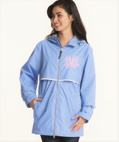 Monogrammed Women's Rain Jacket - Periwinkle (SMALL AND MEDIUM ONLY)