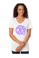 White Monogrammed V-Neck Tee (Pick Your Monogram Color/Font)