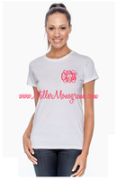 Left Chest Glitter Monogram White Short Sleeve Tee