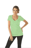 Left Chest Monogram Apple Green Short Sleeve V-Neck Tee