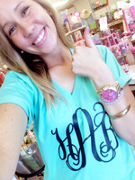 Monogrammed V-Neck Tee - Bondi Blue (PICK YOUR MONOGRAM COLOR/FONT)