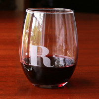 Etched Stemless Red Wine Glass (Set of 4)
