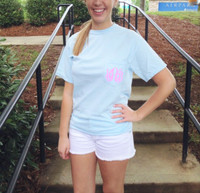 Monogrammed Short Sleeve Comfort Color Tee - Chambray