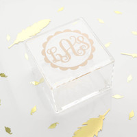 Monogrammed Clear Acrylic Trinket Box