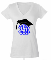 Monogrammed V-Neck Graduation Tee