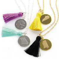 Monogram State Tassel Necklace