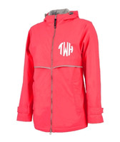 Monogrammed Womens Rain Jacket - Bright Coral