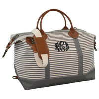 Monogrammed Canvas Weekender - Grey Stripes