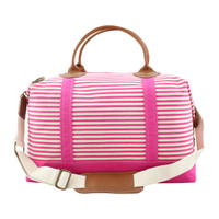 Monogrammed Canvas Weekender - Pink Stripes