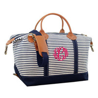 Monogrammed Canvas Weekender - Navy Stripes