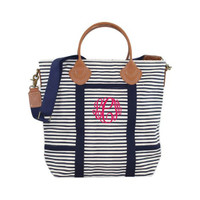 Monogrammed Canvas Flight Bag - Navy