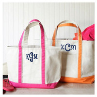Monogrammed Canvas Boat Tote - Pink